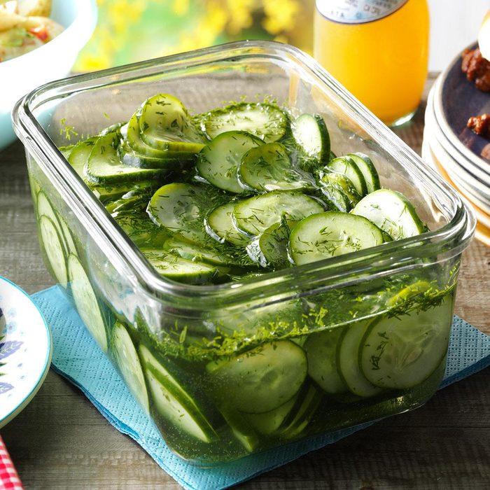 sliced cucumbers in a dish