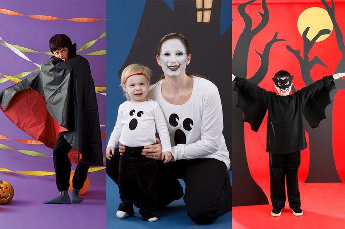 Pictures of DIY vampire, mime and cat costumes side-by-side
