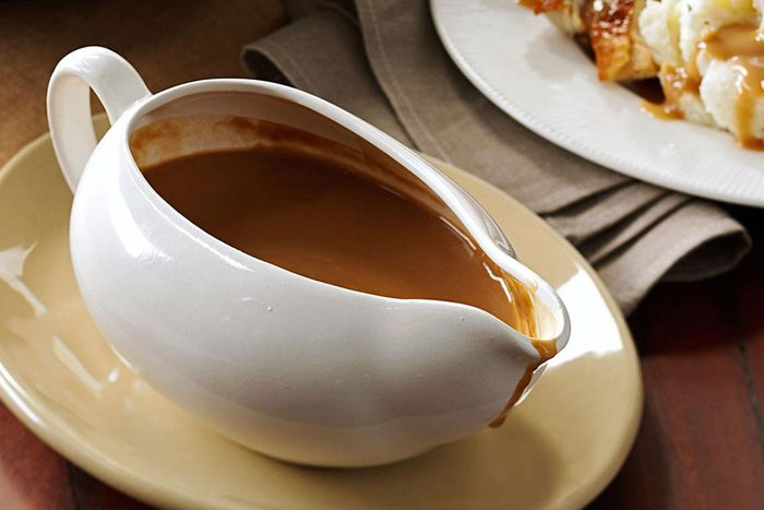 Gravy boat filled with foolproof gravy