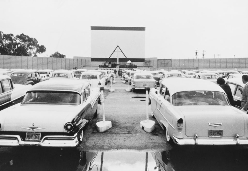 Drive-in movie theater in black and white