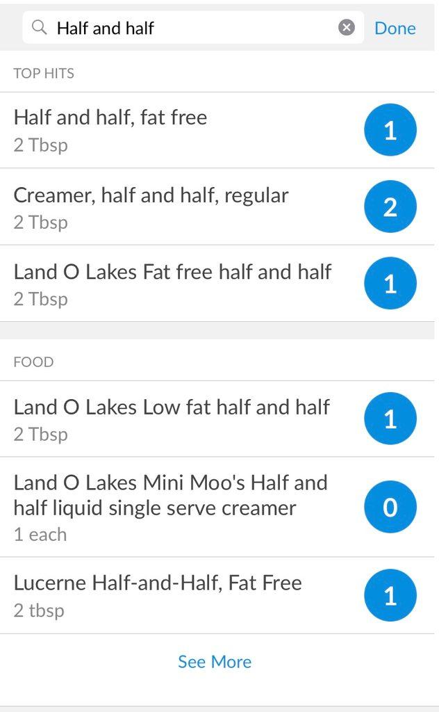 Screenshot of half-and-half in calorie tracker app
