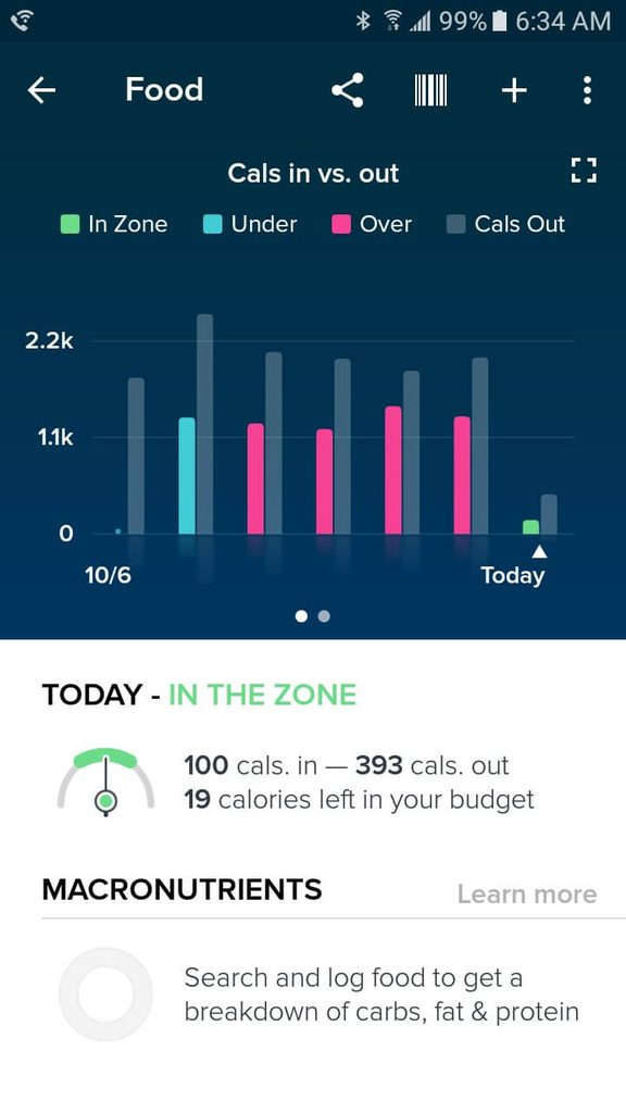 Screenshot of fitbit calories in and out tracker