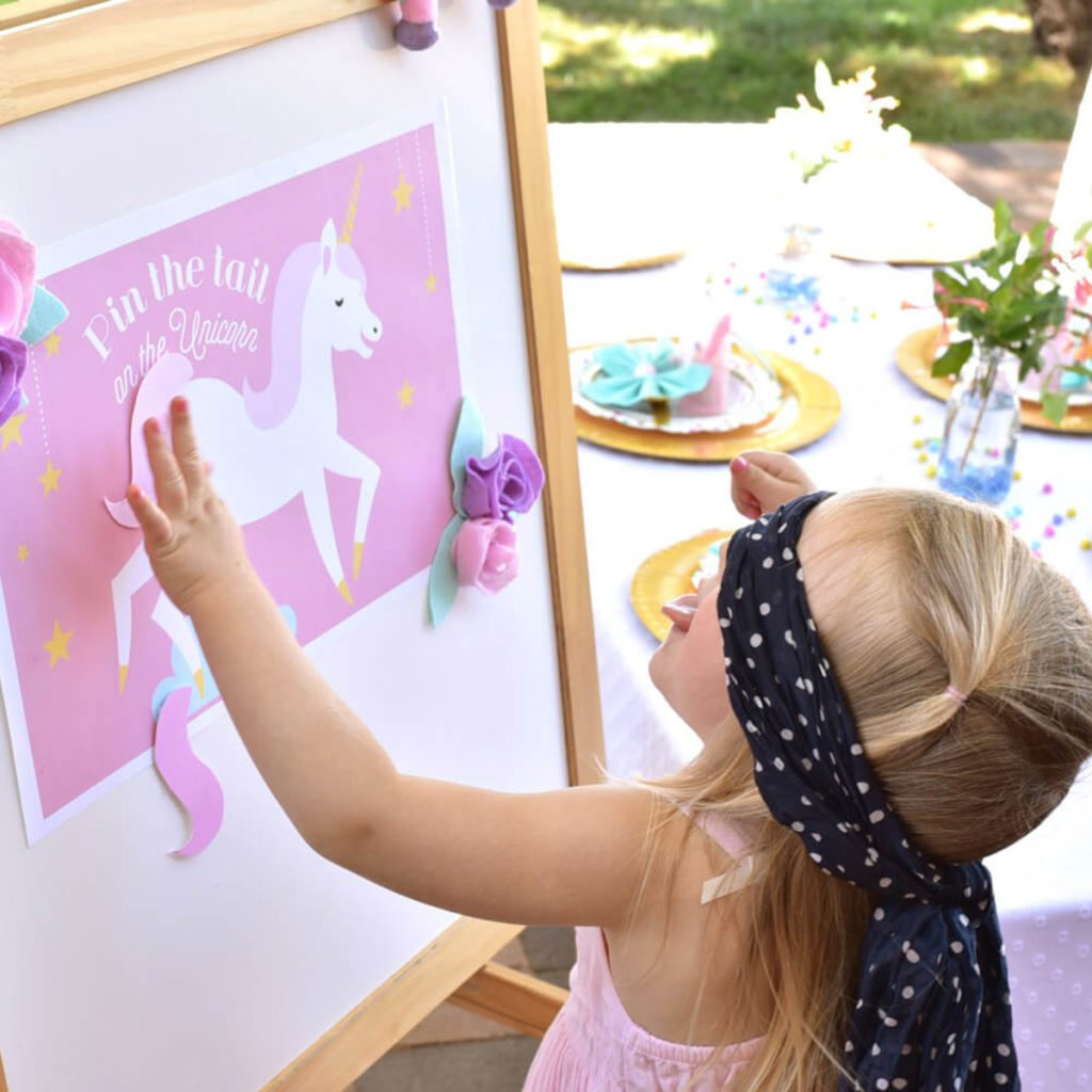 unicorn party, pin the tail on the unicorn