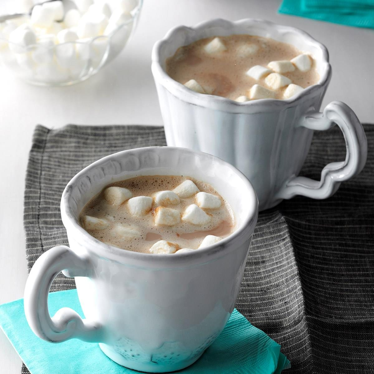 Healthy hot chocolate with marshmallows
