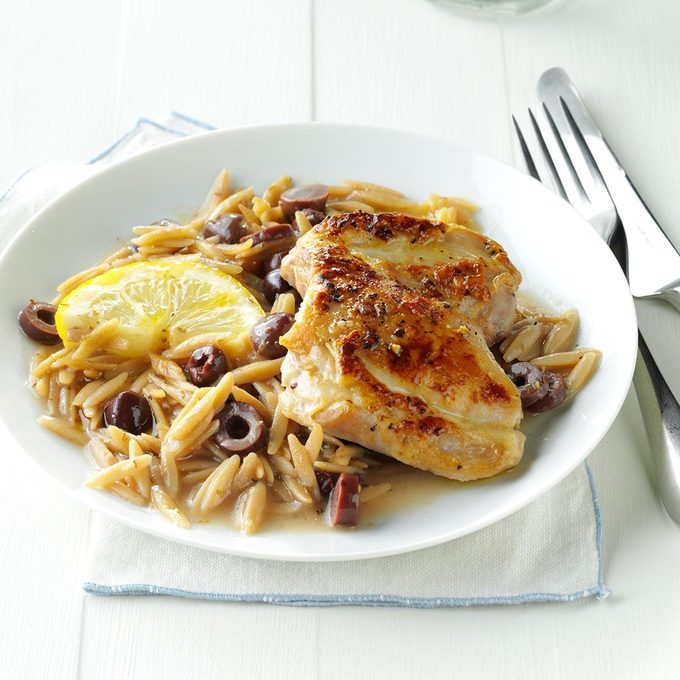 Lemon-Olive Chicken with Orzo