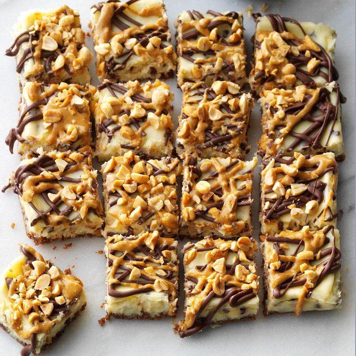 Gluten Free Peanut & Chocolate Chip Cheesecake Bars