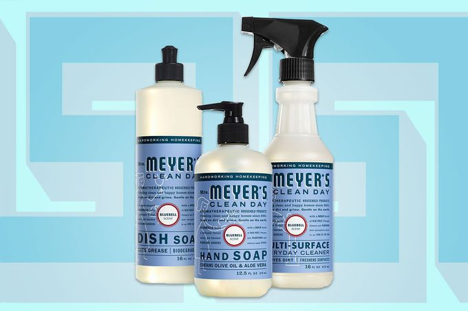 Three different Mrs. Meyer's products side-by-side