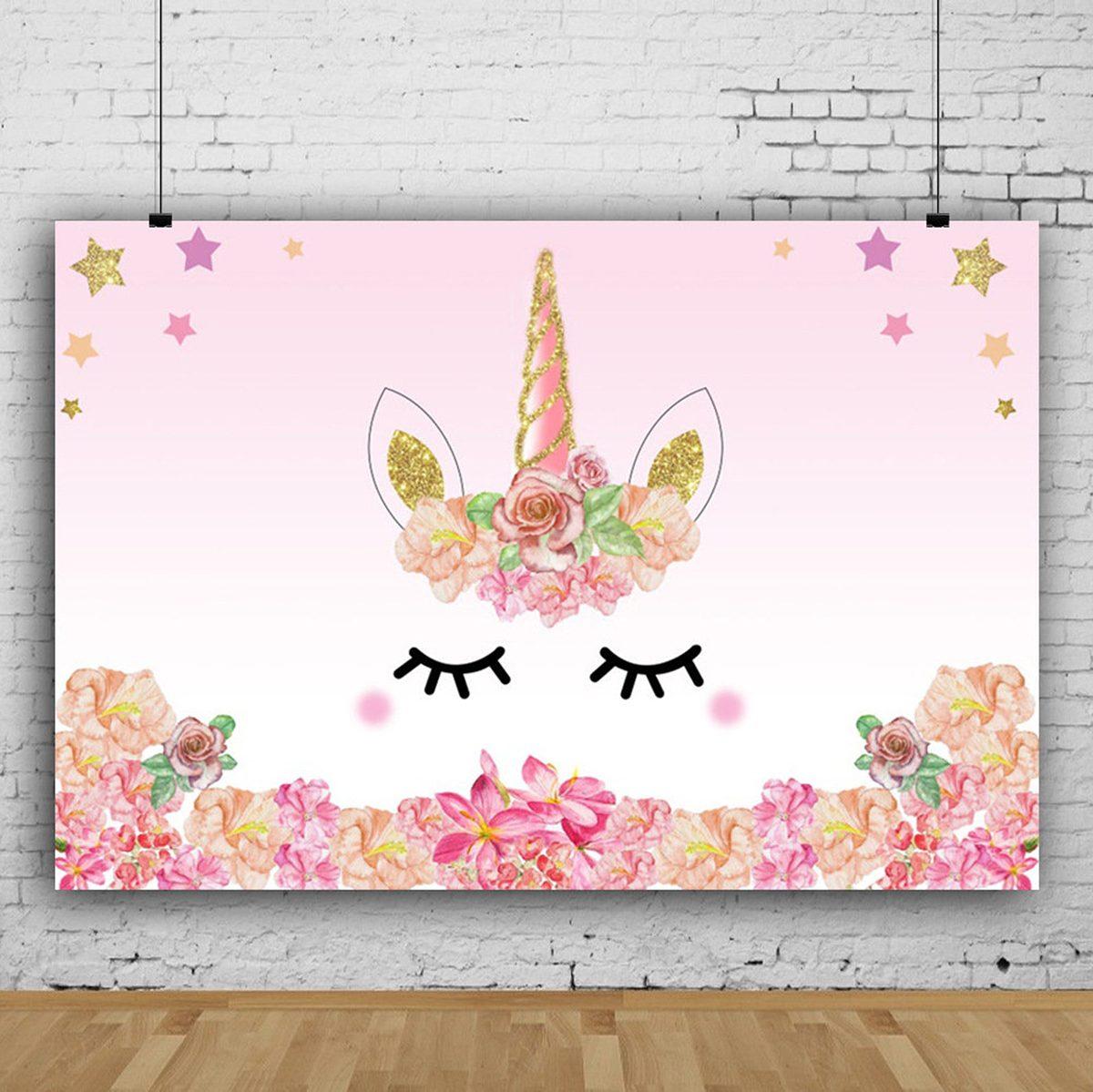Unicorn Party Backdrop 5x3ft, Unicorn Eyelashes, Stars, Flowers, Birthday Party Backdrop, Unicorn Party, Unicorn Decor, Adult Unicorn Party