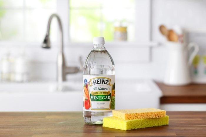 Bottle of vinegar and two sponges on a kitchen countertop
