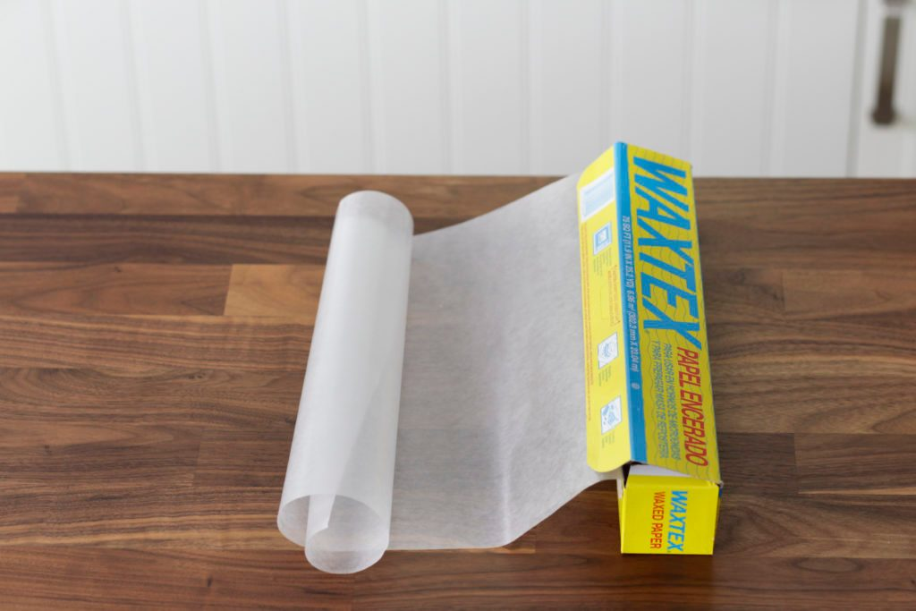 Roll of wax paper on a countertop