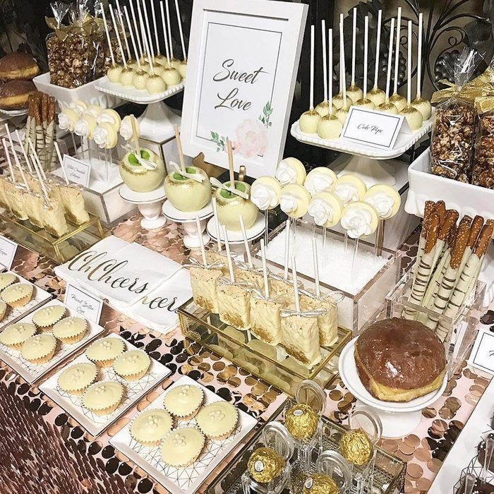 A table with assorted wedding treats.