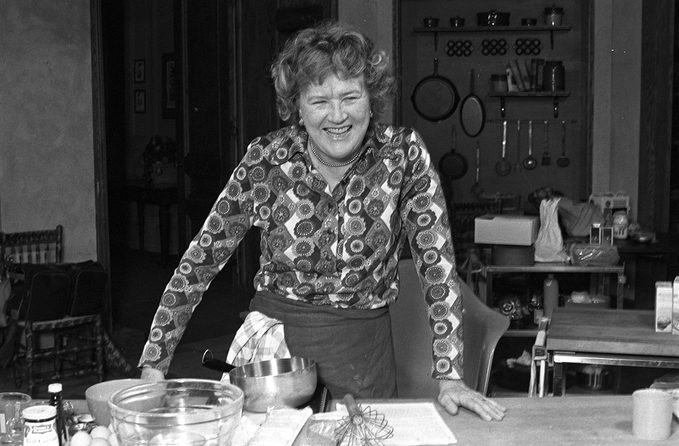 Julia Child on the set of her cooking show
