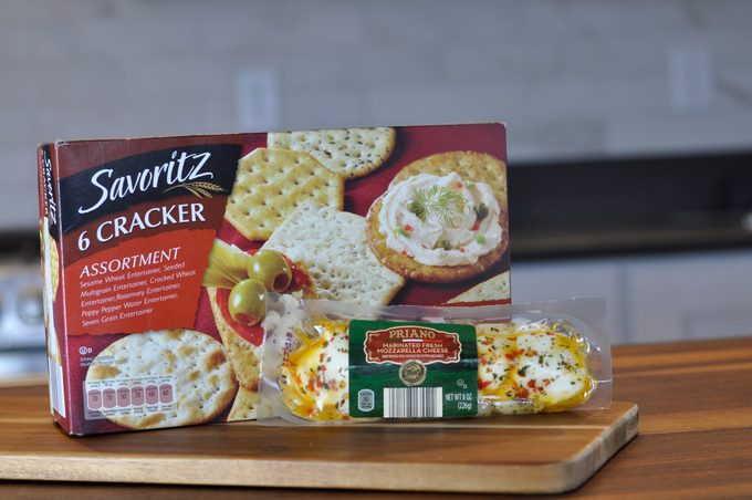 Box of crackers and cheese from Aldi on the countertop