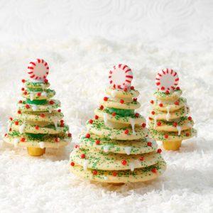 Sugar cookies arranged into christmas trees