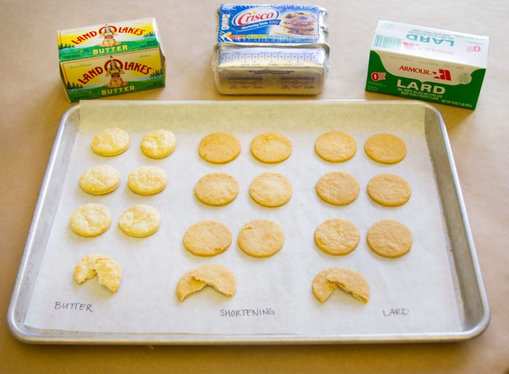 Pie crust taste test between butter, lard and shortening - key ingredients shown behind a tray of pie crust pieces in the shape of cookies