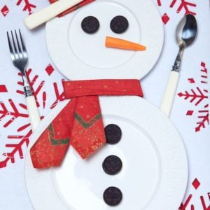Festive table setting for christmas with snowman
