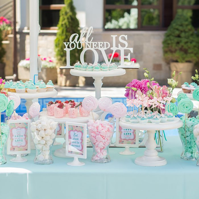 Candy Bar. Delicious sweet buffet with cupcakes. Sweet holiday buffet with cupcakes and other desserts. ; Shutterstock ID 417012499