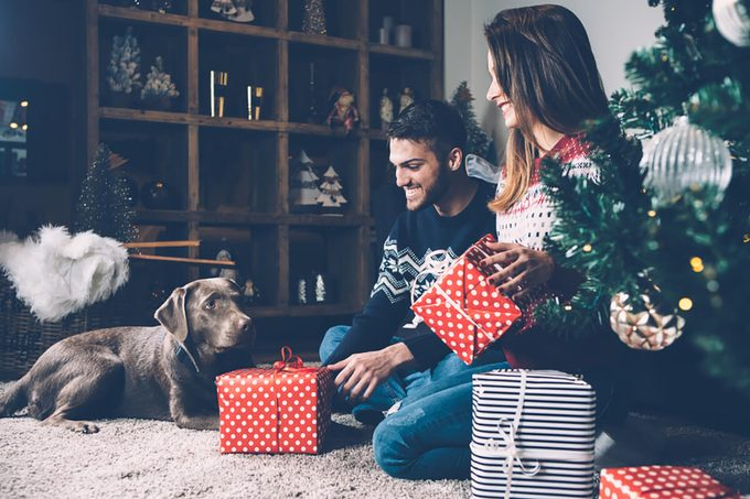 Young laughing couple in sweaters sitting on carpet near fir tree with dog and holding presents.