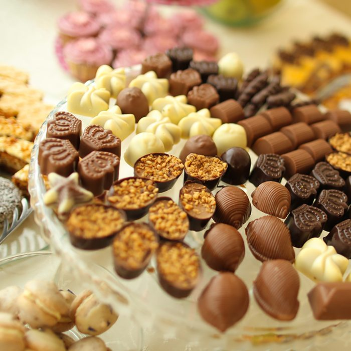 candy bar with various types of chocolate; Shutterstock ID 565346995