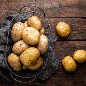 Opened sack of potatoes