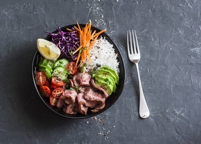 Beef steak, rice and vegetable power bowl.