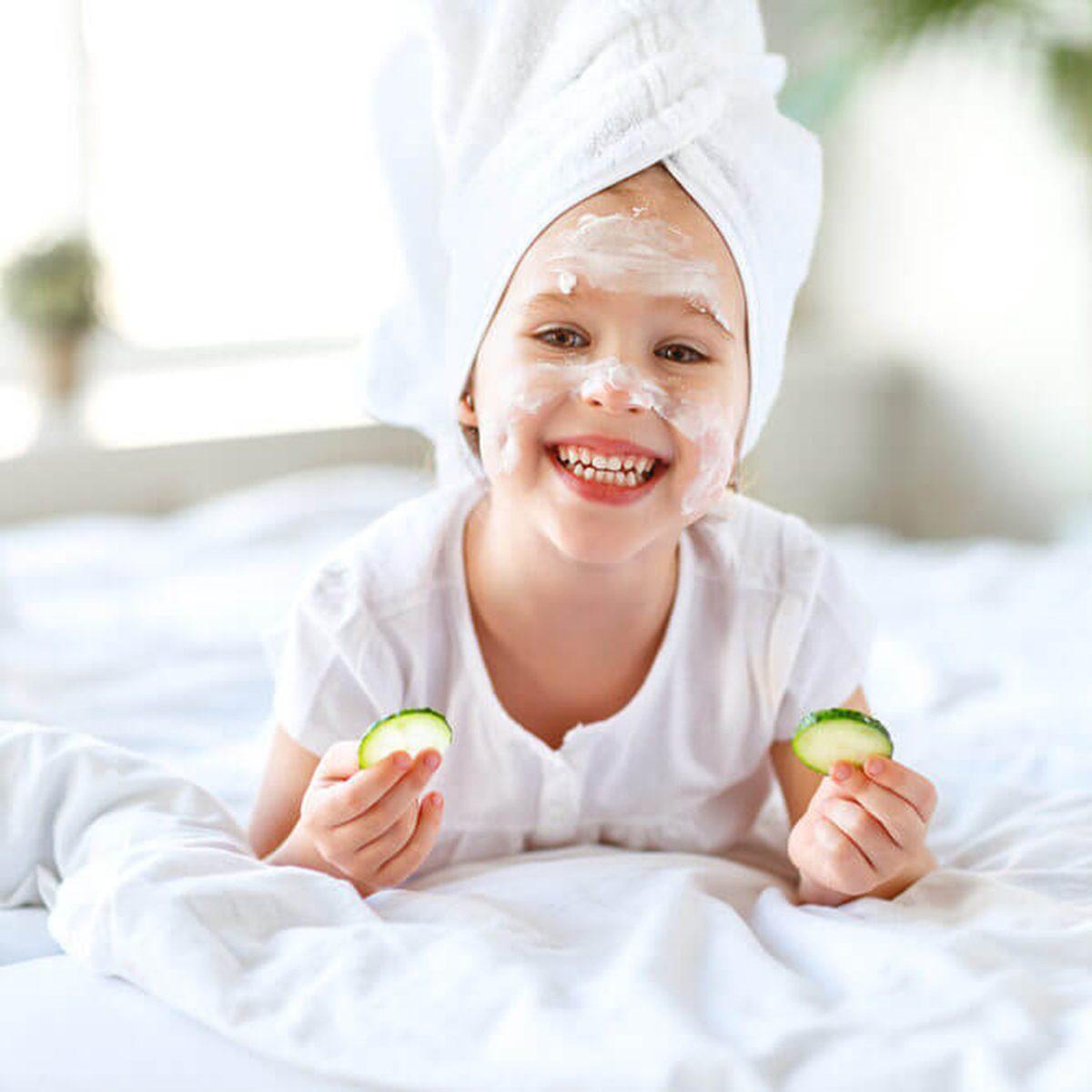 Child having a facial