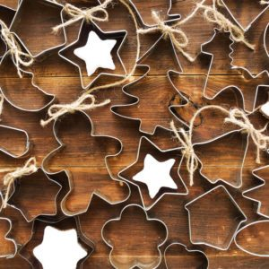 Christmas background made of cookie cutters