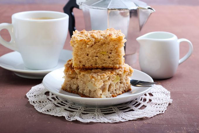 Squares of apple coffee cake with streusel topping