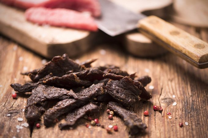 Beef Jerky on wooden background