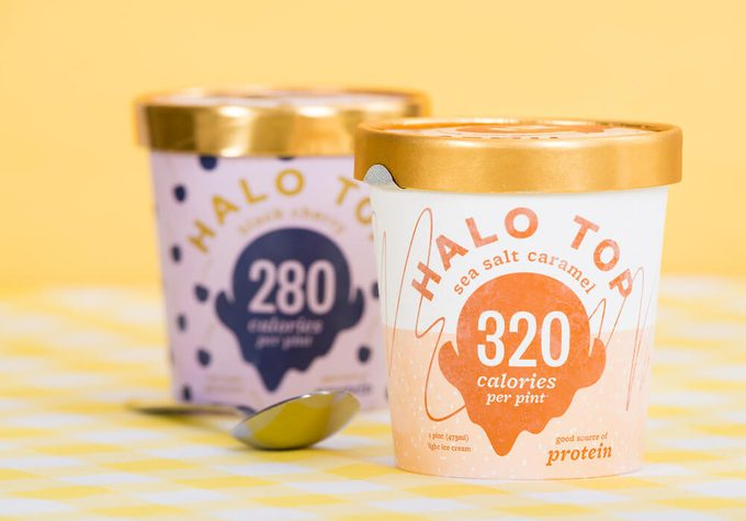 Pint of Halo Top, high-protein, low-sugar and low-calorie Ice Cream in sea salt caramel flavor.