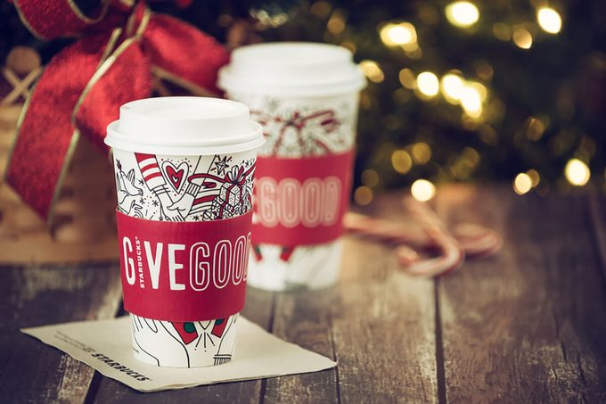 Starbucks popular holiday beverage, served in the new 2017 designed holiday cups.