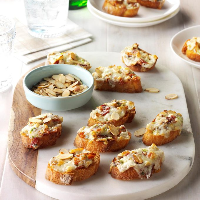 Almond-Bacon Cheese Crostini