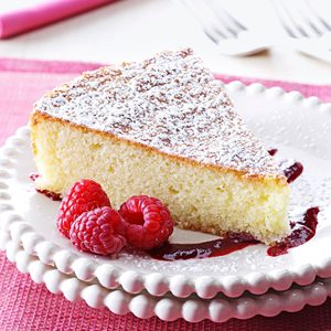 Almond Cake with Raspberry Sauce