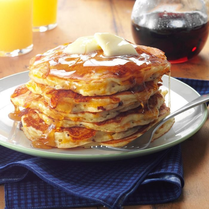 Apple-Cheddar Pancakes with Bacon