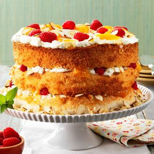 Apricot-Raspberry Angel Torte