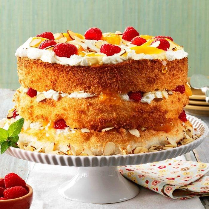 Apricot-Raspberry Angel Torte