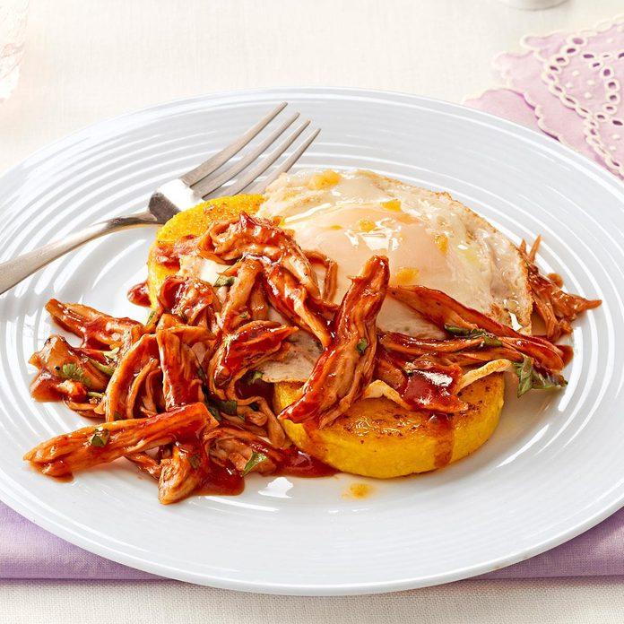 BBQ Chicken Polenta with Fried Egg