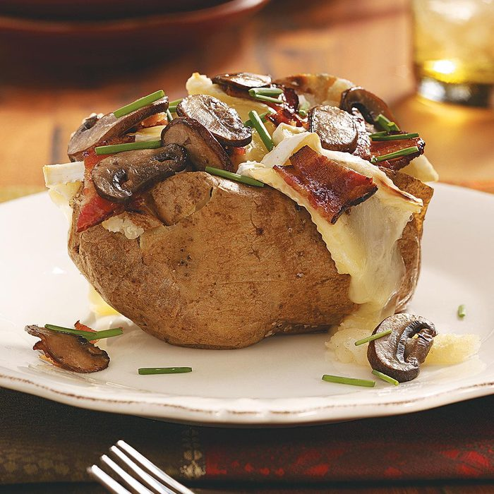 Bacon, Cremini & Brie Potatoes for Two