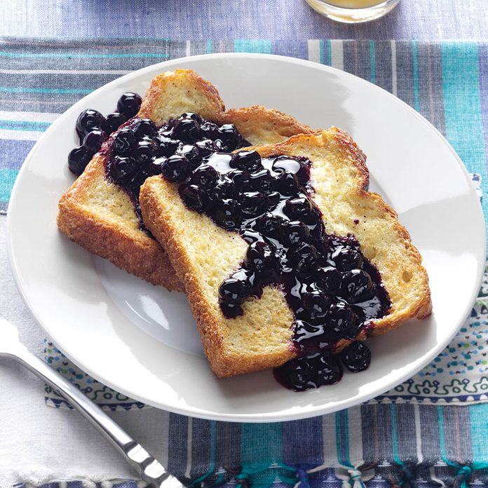 Baked French Toast with Blueberry Sauce