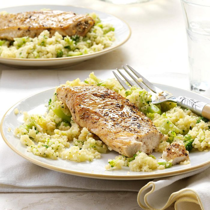 Balsamic Chicken with Broccoli Couscous