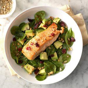 Balsamic-Salmon Spinach Salad