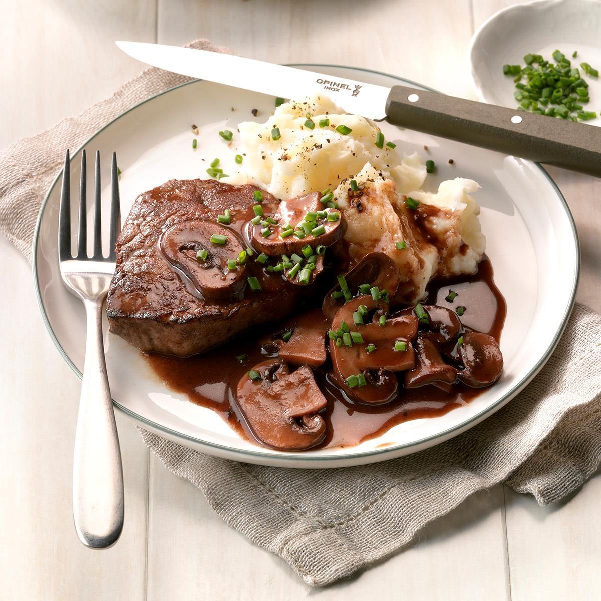 Friday: Beef Filets with Portobello Sauce