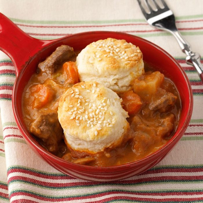 Beef Stew with Sesame Seed Biscuits