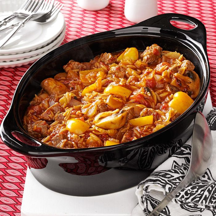 Beef and Orzo Skillet