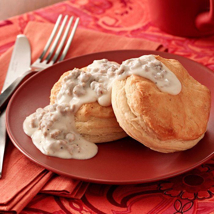 Biscuits with Turkey Sausage Gravy