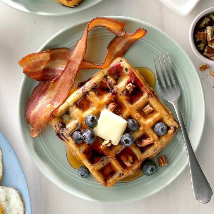 Blueberry Oat Waffles