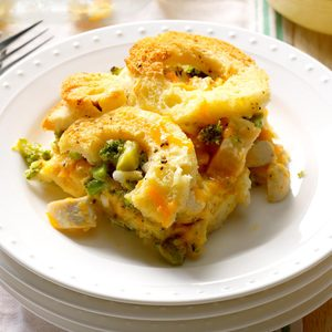 Broccoli & Chicken Cheese Strata