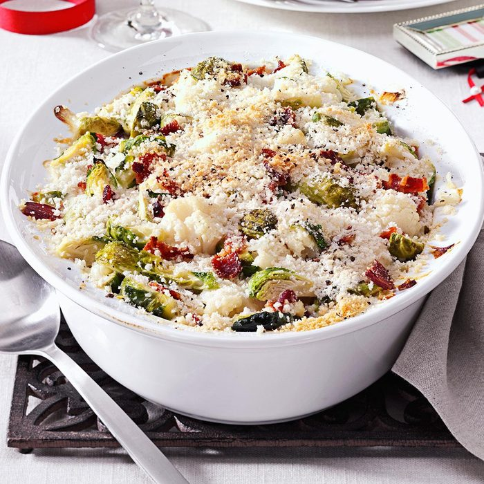 Brussels Sprouts & Cauliflower Gratin