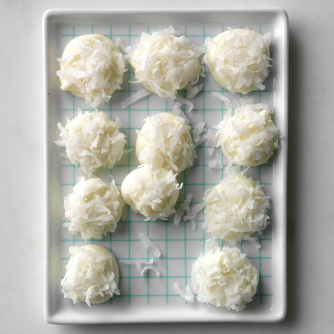 """This 2-ingredient """"bunny tails"""" recipe calls for white baking chips and shredded coconut."""