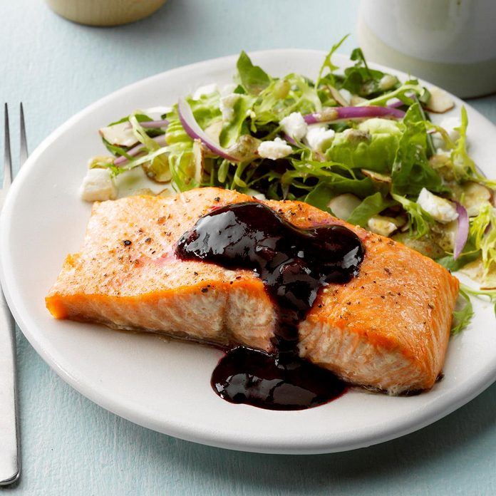 July 23: Cedar Plank Salmon with Blackberry Sauce
